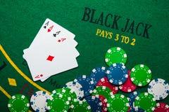 cztery as w partii pokeru Fotografia Stock