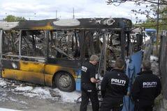 CZTERY autobusu BURNT DZISIAJ RANO Obraz Stock