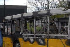 CZTERY autobusu BURNT DZISIAJ RANO Obraz Royalty Free
