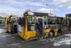 CZTERY autobusu BURNT DZISIAJ RANO Zdjęcia Stock