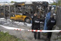 CZTERY autobusu BURNT DZISIAJ RANO Fotografia Royalty Free