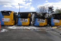 CZTERY autobusu BURNT DZISIAJ RANO Zdjęcie Royalty Free