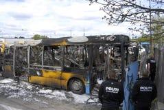 CZTERY autobusu BURNT DZISIAJ RANO Zdjęcie Stock