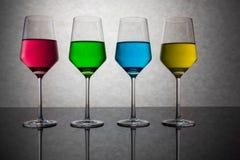 Cztery Barwionego szkła woda Fotografia Stock