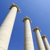 Cztery białej kolumny, Barcelona Zdjęcia Stock