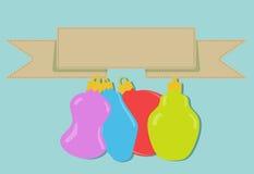 Cztery bożego narodzenia baubles z sztandarem Zdjęcia Stock