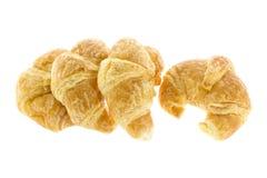Cztery croissant na białym tle Fotografia Royalty Free