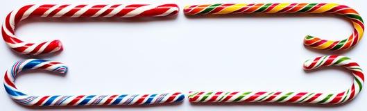 Cztery cukierek trzciny buduje ramę Fotografia Royalty Free