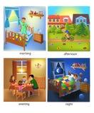Cztery czasu dzień: ranek, popołudnie, wieczór i noc, ilustracji