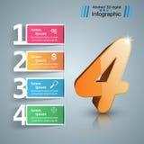 Cztery 3D cyfrowy ilustracyjny Infographic Zdjęcie Stock