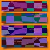 Cztery 3D wektorowego sztandaru z pociągany ręcznie abstrakcjonistycznym tłem ilustracja wektor