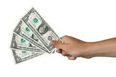 Cztery dolara w ręce odizolowywającej na bielu Zdjęcia Royalty Free