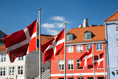 Cztery duńska flaga Zdjęcie Royalty Free