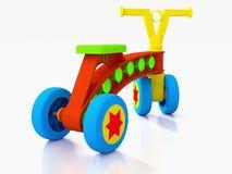 Cztery dzieciaków zabawki toczący rower. fotografia stock