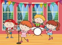 Cztery dzieciaka bawić się muzykę w zespole ilustracja wektor