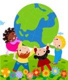 Cztery dziecka trzyma kulę ziemską royalty ilustracja