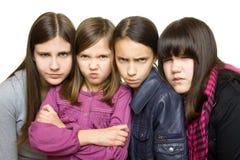 cztery dziewczyna poważna Zdjęcia Royalty Free