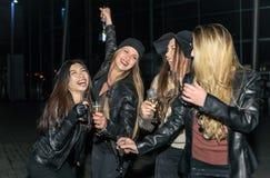 Cztery dziewczyny robi partyjny plenerowemu zdjęcie stock