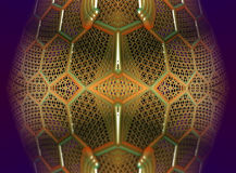 Cztery fractal robi abstrakcjonistycznemu geometrycznemu composition-3d renderingowi Zdjęcia Royalty Free