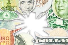 Cztery głównego światowego waluta banknotu w dialog gulgoczą kolaż Zdjęcie Stock