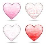 Cztery glansowanego serca Zdjęcie Royalty Free