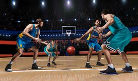 Cztery gracza koszykówki w gemowej akci Obraz Royalty Free