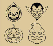 Cztery Halloween charakter Lineart Ilustracji