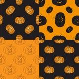 Cztery Halloweenowy bezszwowy wzór z banią ilustracja wektor