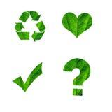 cztery ikony zielona tekstura Zdjęcie Stock