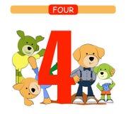 cztery Inkasowa liczba dla dziecina i preschool Uczy się liczbę 4 psy royalty ilustracja