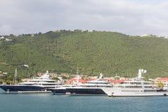 Cztery jachtu w St Thomas Zdjęcia Stock