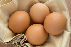 Cztery jajka na tkaninie Obrazy Stock