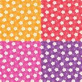 Cztery jaskrawego ślicznego kwiecistego wektoru wzoru Zdjęcie Royalty Free