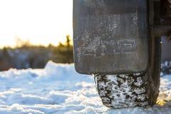 Cztery kół przejażdżki pluśnięcia samochodowy strażnik w Finlandia Zdjęcia Stock