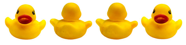Cztery kaczki gumowej na białym tle Zdjęcia Stock