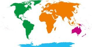 Cztery kontynentów mapa ilustracji