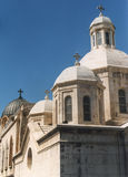 Cztery kopuły nakrywającej z krzyżami w Starym mieście Jerozolima obrazy royalty free