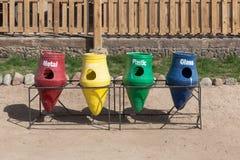 Cztery kosza dla oddzielnej jałowej kolekci Zdjęcie Stock