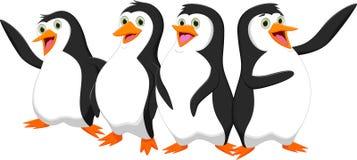Cztery kreskówki śliczny pingwin Zdjęcie Royalty Free