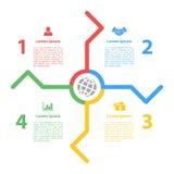 Cztery kroka jeździć na rowerze infographic układu pojęcie Obrazy Stock