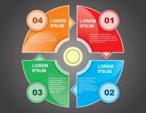 Cztery kroka sztandaru dla strony internetowej Zdjęcia Royalty Free