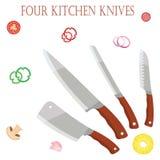 Cztery kuchennego noża dla szefa kuchni dla szefów kuchni z warzywami EPS10 Zdjęcie Royalty Free