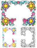 Cztery kwiatów granica Obrazy Royalty Free
