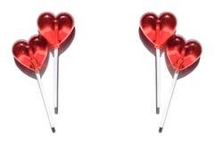 Cztery lizaka czerwone serce Cukierek pocałunek miłości człowieka koncepcja kobieta pary dzień ilustracyjny kochający valentine w Zdjęcia Royalty Free