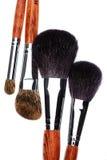 Cztery makeup muśnięcia na białym tle obrazy stock