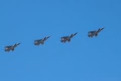 Cztery naddźwiękowego interceptor samolotu w locie Obrazy Royalty Free
