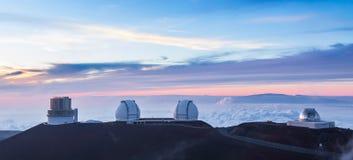 Cztery obserwatorium przy zmierzchem, Hawaje zdjęcie royalty free