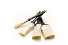 Cztery czarnego paintbrushes Obrazy Stock