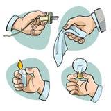 Cztery opci dla ręk z przedmiotem ilustracja wektor