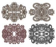 Cztery ornamentacyjny kwiecisty przybranie ilustracja wektor